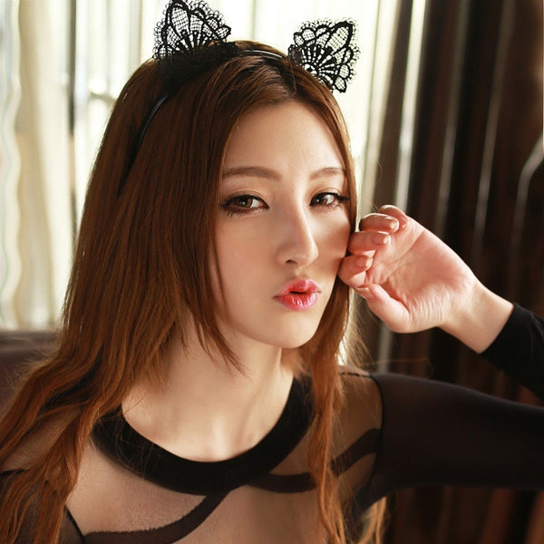 Sexy Black Lace Cat Ears Headband KW179038
