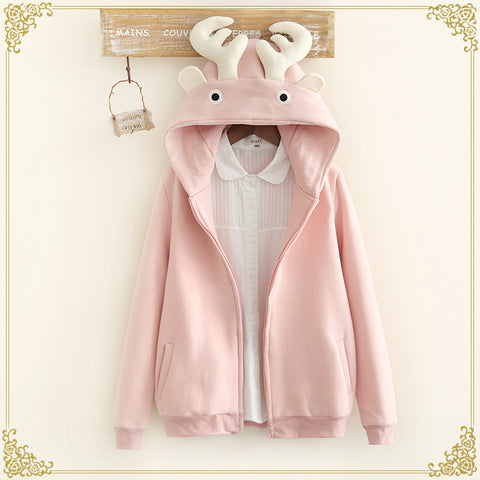 Winter Warm Deer Ears Hoodie Fashion  Hooded Coat