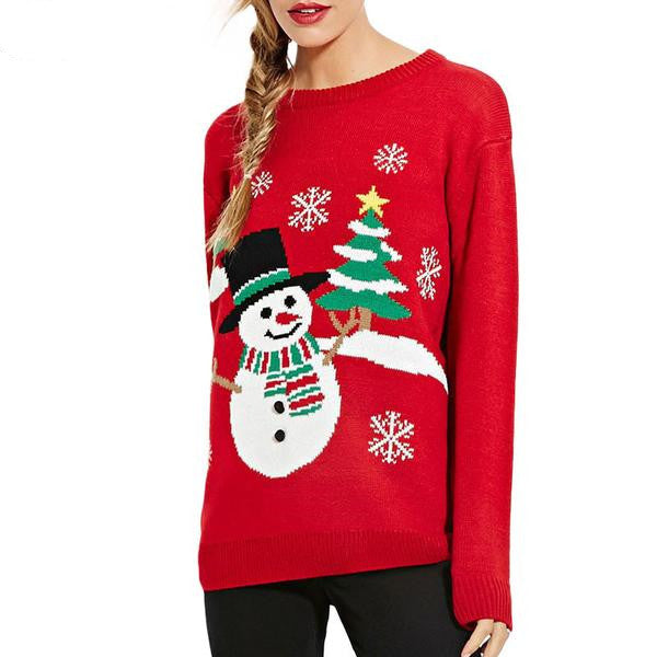 Snowman Tree Print Red Slim Sweaters