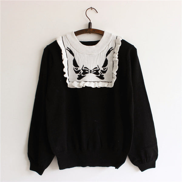 Cute Bowknot and Ruffled Sweater KW178816