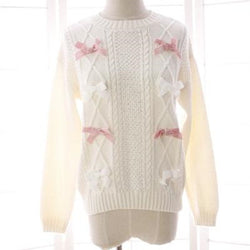 Cute Long Sleeve Bow  Cable Knitted Sweater