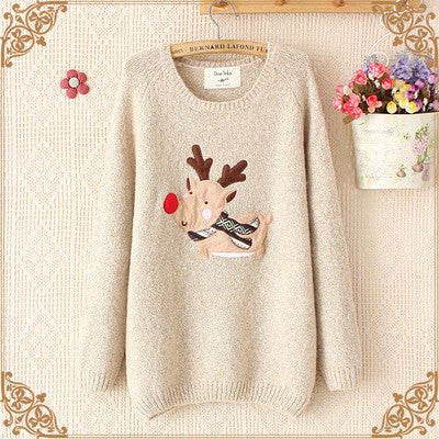 Cartoon Cute Reindeer Sweaters Tops
