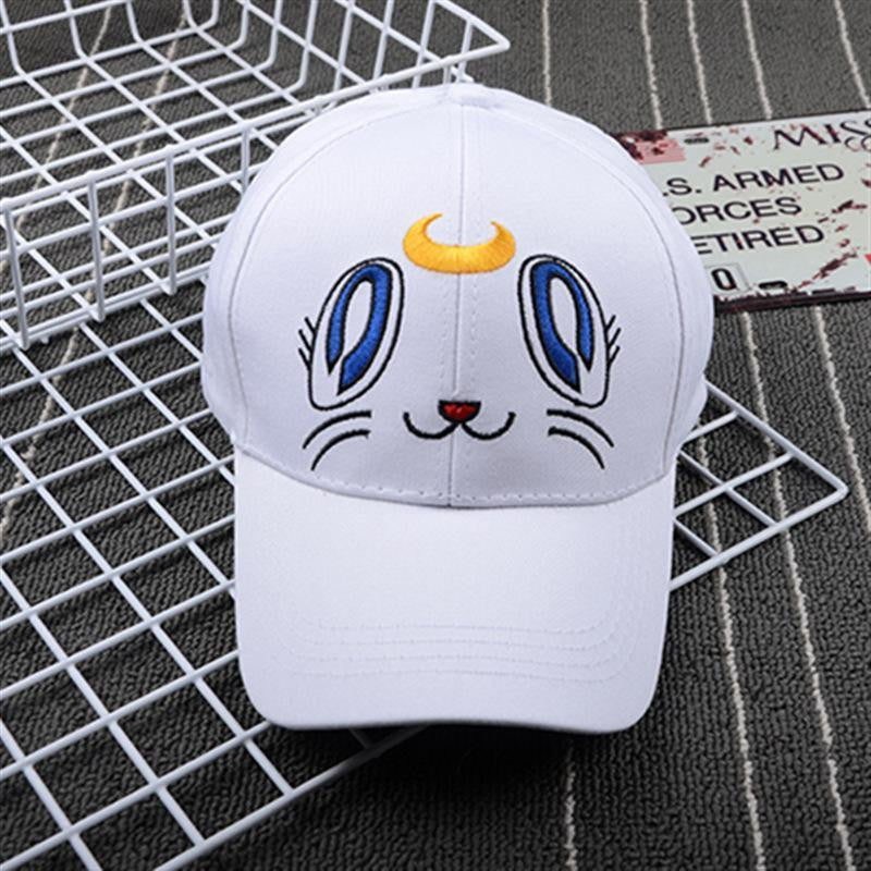 Sailor Moon Cat Luna White Baseball Canvas Cap - kawaiimoristore