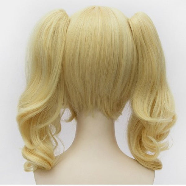 45cm Short Curly Blonde Batman Harley Quinn Synthetic Anime Cosplay Wig KW178994