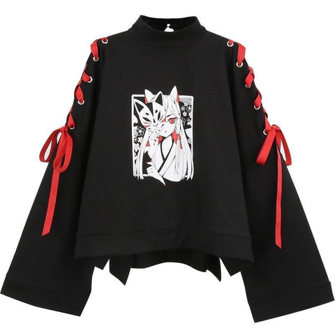 Anime Fox Printed Cross Ribbon Lolita Hoodie Jumper K14973