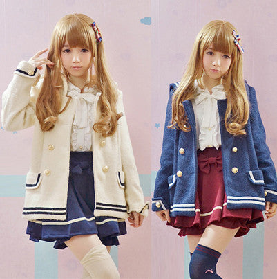 Winter Navy Blue Sailor Collar Coat