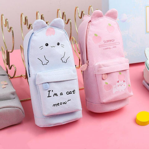 Kawaii Rabbit Cat Canvas Pencil Bag K14923