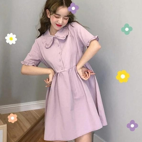 Preppy Style Baggy Purple Cute Girls A-line Midi Dress KK0979 - kawaiimoristore