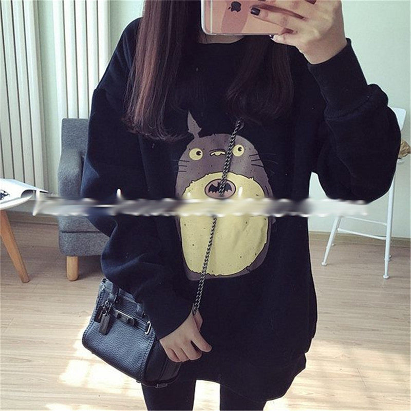 Totoro Embroidery Loose Sweatershirt Jumper KW179111