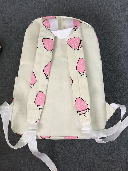 Lovely Strawberry Print  Canvas  Bag