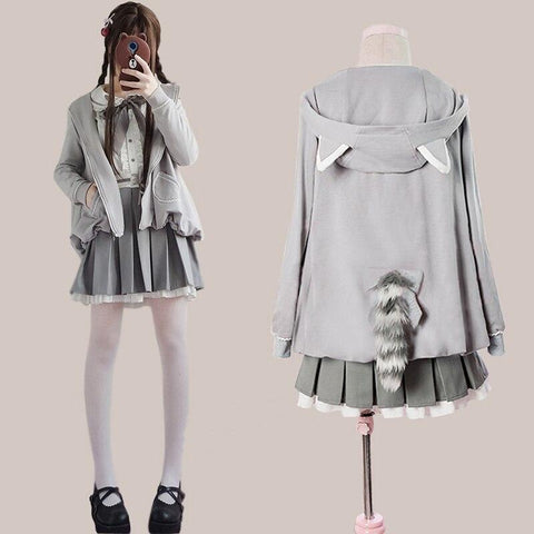 Kawaii Lolita Gray Coat +Gothic Blouse And Skirt Set Suit K15098 - kawaiimoristore