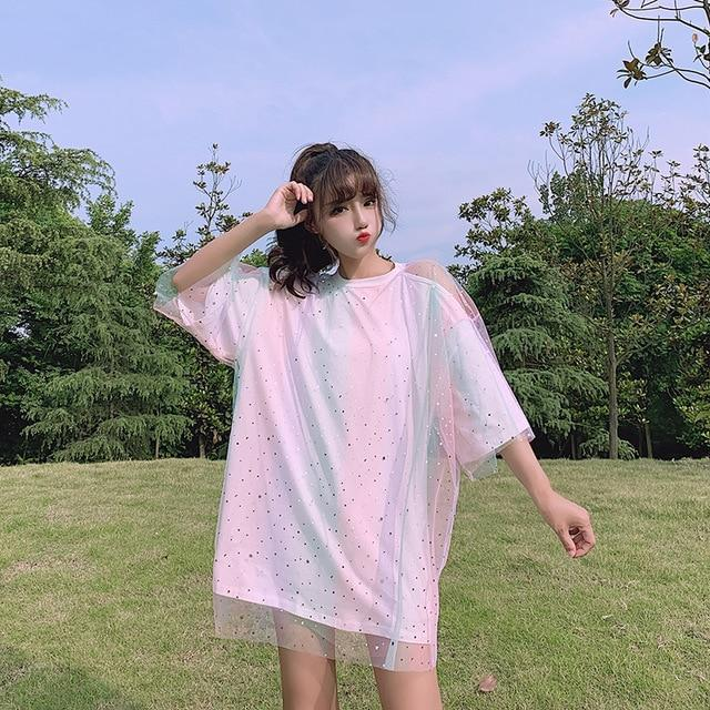 Gradient Rainbow Color Nets Yarn Splice Round Neck Hollow Out Tops K15324 - kawaiimoristore
