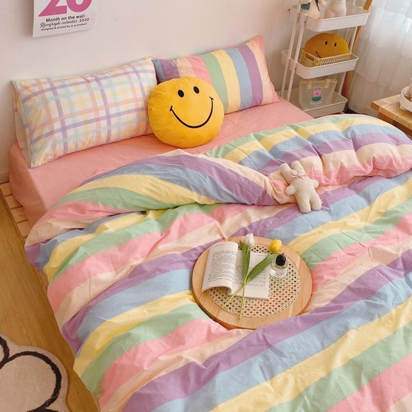 Kawaii Fashion Rainbow Bedding Set SS0487 - kawaiimoristore