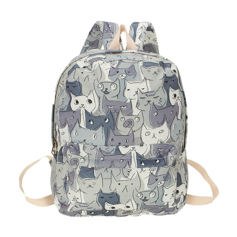 Cute Cat Canvas Backpack