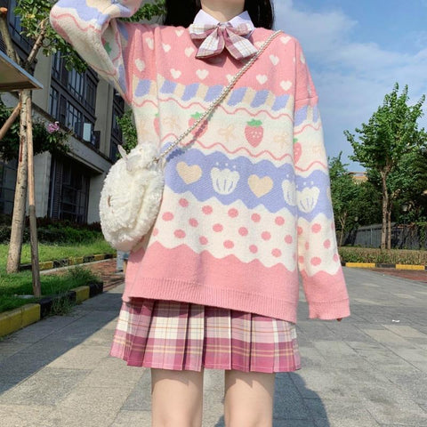 Kawaii Strawberry Printing Long Sleeve Knitting Sweater K15362 - kawaiimoristore
