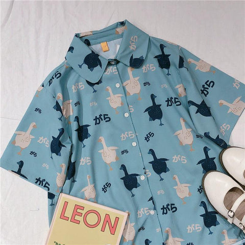 Retro Little Fat Duck Print Short Sleeve Shirt K15274 - kawaiimoristore