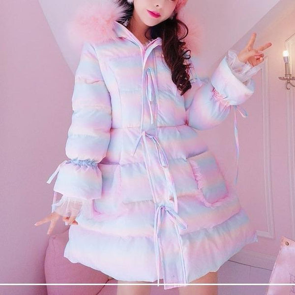 Sweet Cute Lolita Rainbow Hooded Coat K15473 - kawaiimoristore