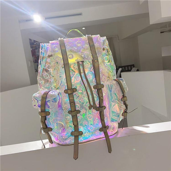 Cool Trendy Colorful Old Flower Pattern Laser Transparent Travel Backpack KK0806 - kawaiimoristore