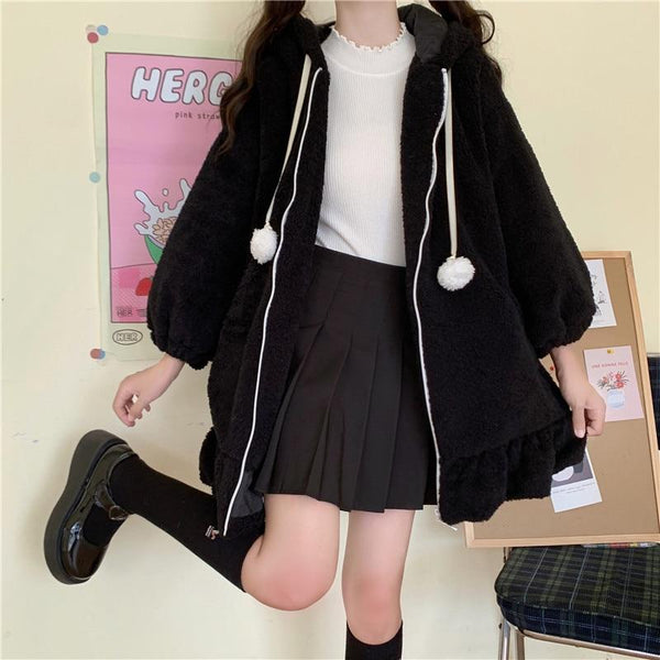 Lolita Teddy Rabbit Ears Hooded Ruffle Faux Wool Zipper Coat K15335 - kawaiimoristore