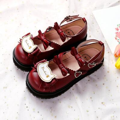 Sweet Lolita Low Heels Bowknot Square Buckle Straps Cosplay Shoes SS0739 - kawaiimoristore