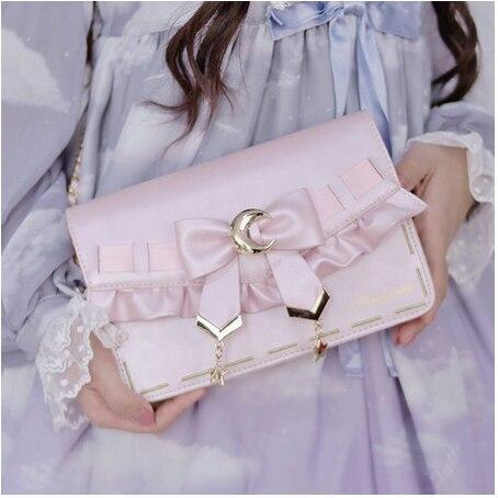 [Pre-Sale] Retro Cosplay Lolita Star Moon Ruffles Bow Single Shoulder Bag SS0753 - kawaiimoristore