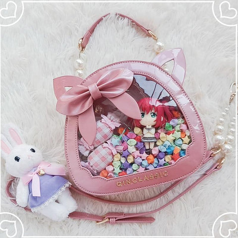 Kawaii Lolita Cat Head Transparent Bow JK Uniform Dolls Handbag K15676 - kawaiimoristore