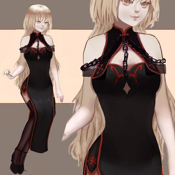 Custom Size Fate Grand Order Jeanne d'Arc Alter Cosplay Black Chain Anime Cheongsam SS0778 - kawaiimoristore