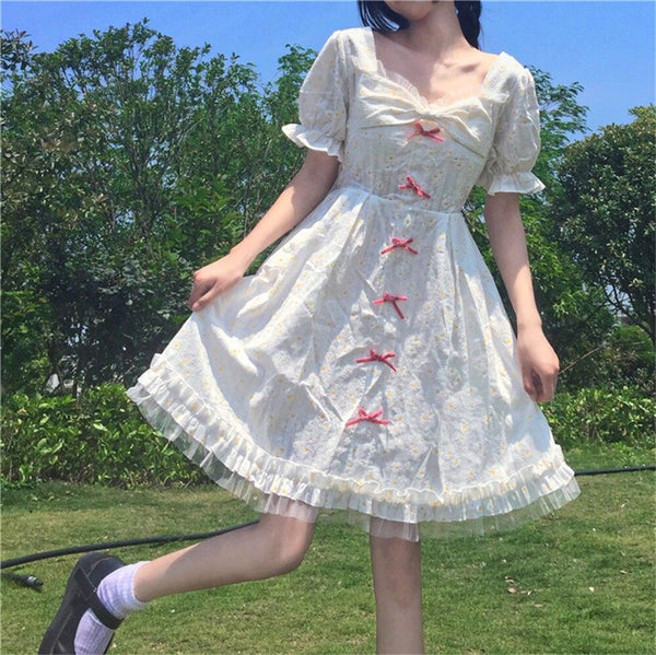 Elegant Sweet Preppy Style Square Collar Butterfly Sleeve White Dress KK0807 - kawaiimoristore