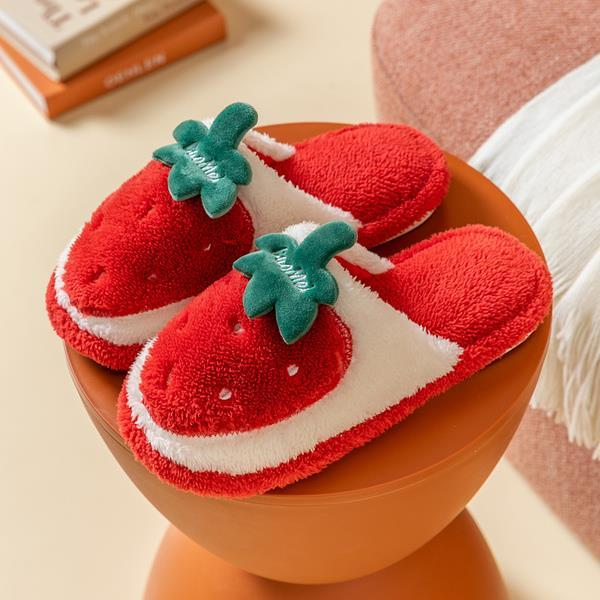 Warm Cute Plush Fruit Cotton Slippers K15401 - kawaiimoristore