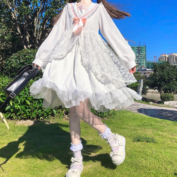 Kawaii Bow Lolita Navy Collar Lace White Mid Long Dress K15422 - kawaiimoristore