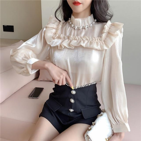 Elegant Palace Style Turtleneck Ruffled Doll Shirt+High Waist Shorts Suits KK0931 - kawaiimoristore