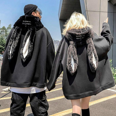 Gothic Harajuku Style Couple Hoodie Cute Rabbit Ear Pullover K15579 - kawaiimoristore