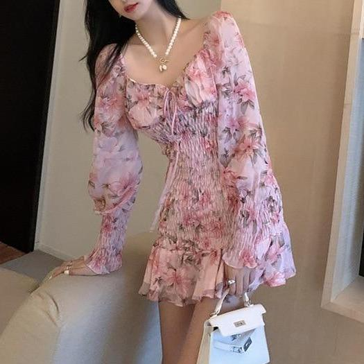 Pink Fashion Chiffon Ruffles Print Trumpet Dress KK0914 - kawaiimoristore
