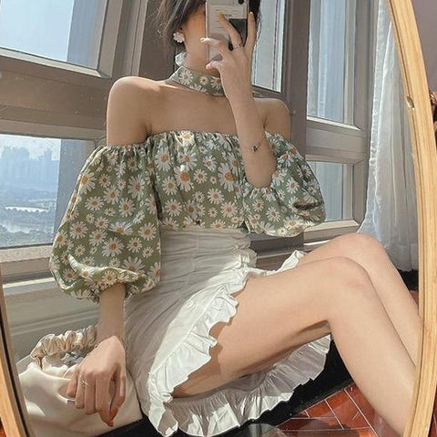 Fashion Cute Off Shoulder Floral Printed Short Sleeve Shirt Blouse K15660 - kawaiimoristore