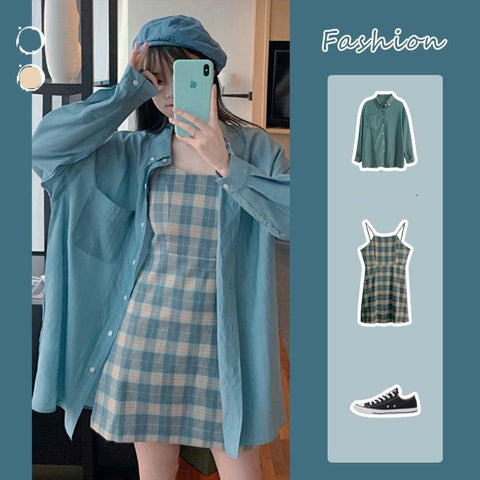 Blue Sunscreen Shirt + Plaid Sling Slim A-line Dress Two-piece Suit K15624 - kawaiimoristore