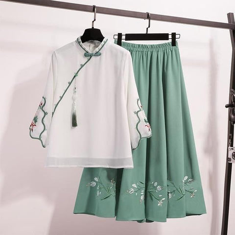 Traditional Ancient Style Blouse Embroidery Tops Skirt Suit KK0963 - kawaiimoristore