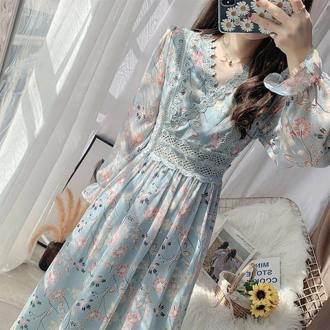 Chiffon lace A-line Butterfly Sleeve Floral Dress KK0966 - kawaiimoristore