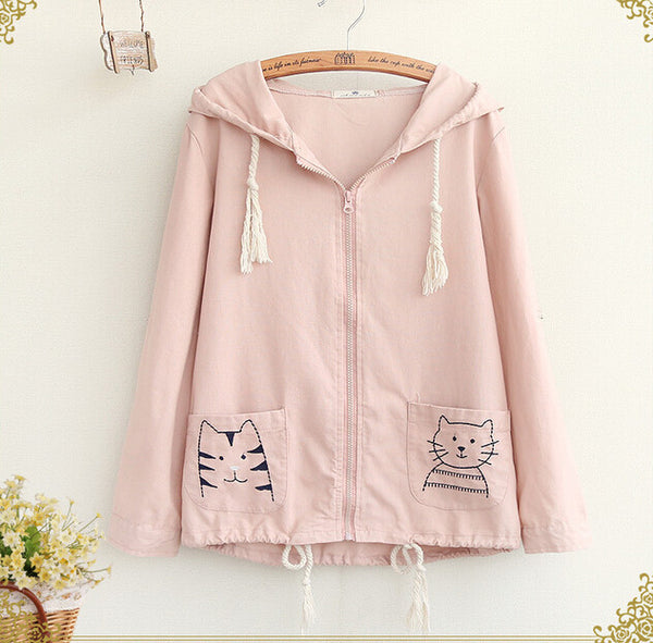 Cute Students Cat Embroidery Pocket Coat - kawaiimoristore