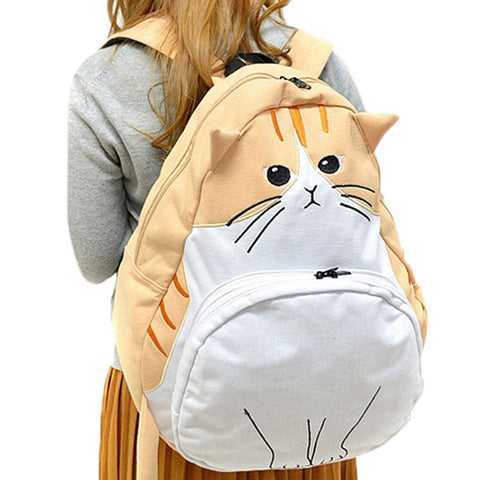 Cute Cat Canvas Backpacks KW166888