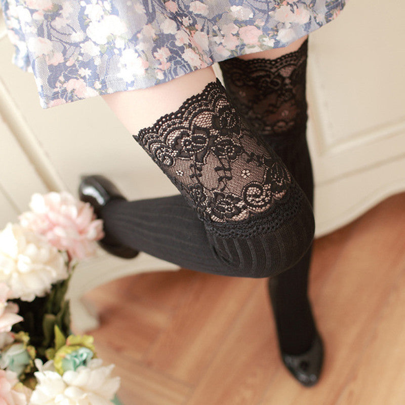 Sexy Lace Over Knee High Stockings