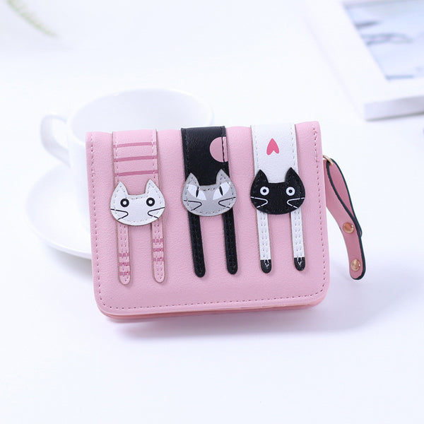 Kawaii Three Cats Pattern Wallet