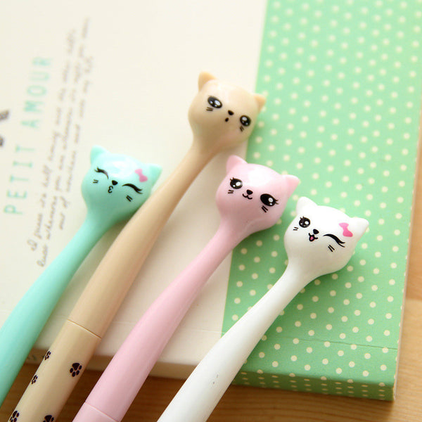 4pcs/lot Cartoon Colorful 0.5mm Cartoon cat Gel Pen KW1711121 - kawaiimoristore