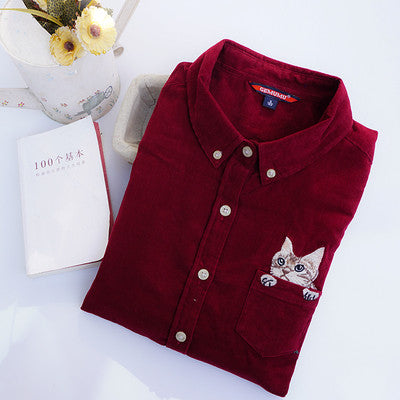 Corduroy Pocket Cat Embroidery Long Sleeve Shirt KW1710249 - kawaiimoristore