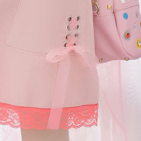 Cherry Decorate Pink Overalls Kawaii Dresses