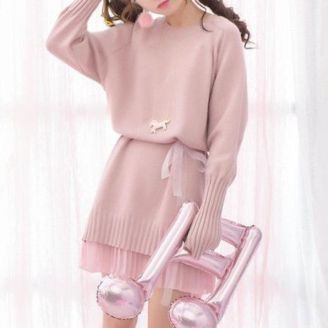 Pink/Grey Sweet Knitting Dresses KW1710140