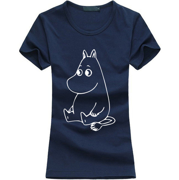 Cartoon MOOMIN Letters Print  T-shirt