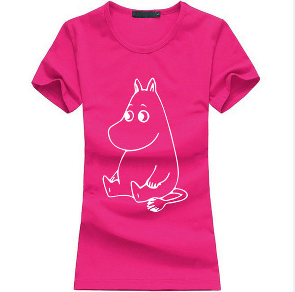 Cartoon MOOMIN Letters Print T-shirt - kawaiimoristore