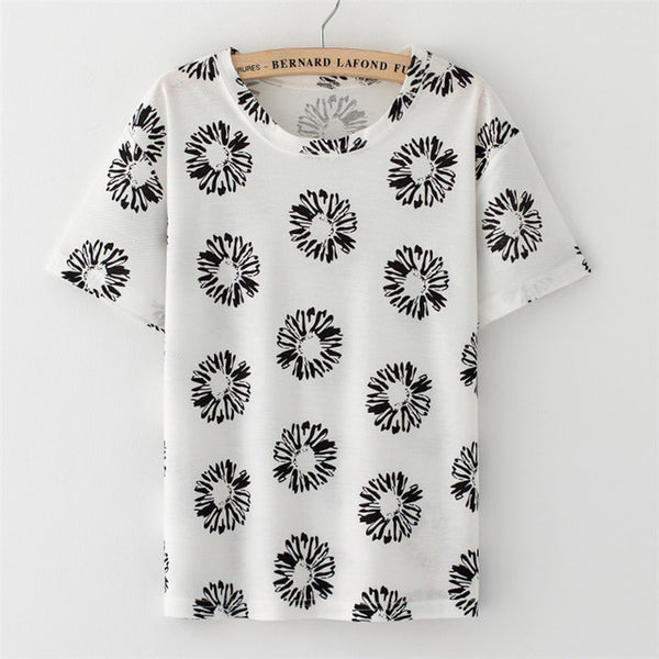 Fruit strawberry print O-neck Casual Short Sleeve T-shirt