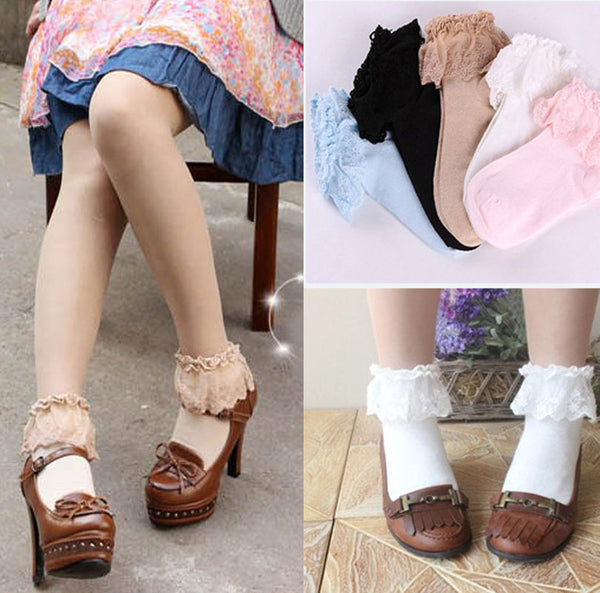 Cotton Lace Ruffle Frilly Floral Ankle Socks K13356