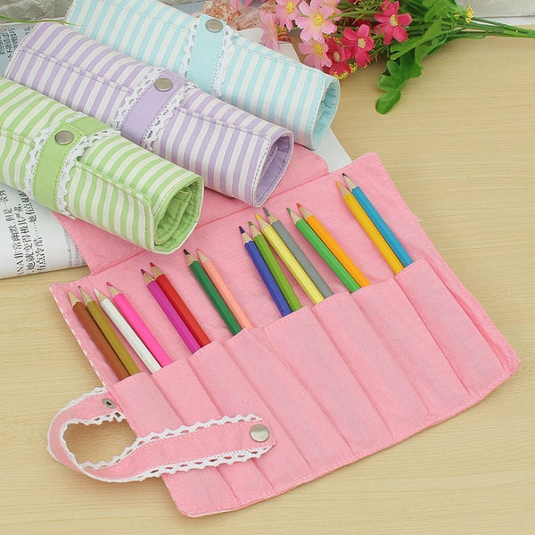 Cute Colorful Oxford Roll Up Pencil Case